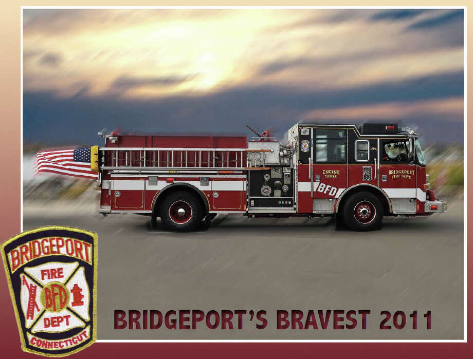 """The cover of the """"Bridgeport's Bravest"""" calendar, which will be released Dec. 2, and will raise money for the Fallen Firefighters Fund. The calendar features 12 of the city's firefighters in cheekily sexy poses. (Photos courtesy of Wayne Ratzenberger) Photo: Contributed Photo / Connecticut Post Contributed"""