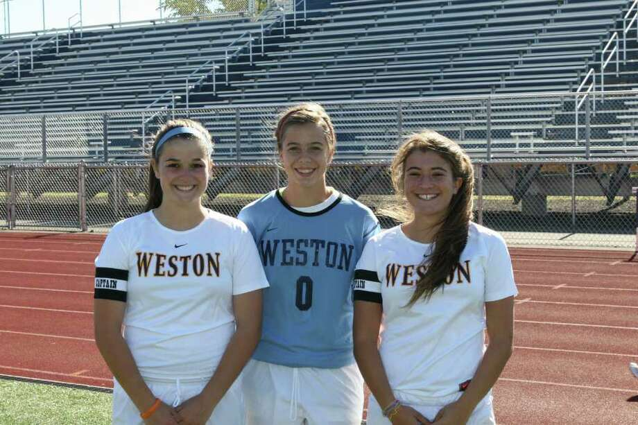 From left, Weston senior tri-captains Callie Bowie, Hannah Hutchins and Dani Moubayed provided strong leadership to a young squad that was plagued by injuries. Photo: Contributed Photo / Robert Taylor Photography
