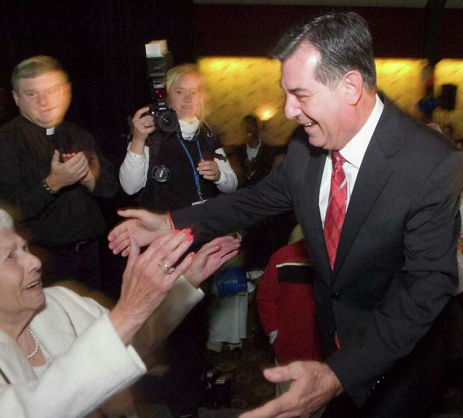 Michael Pavia is congratulated by his mother Rose, left, after he declared victory in the mayor's race on Nov. 3, 2009. Rose Pavia died Sunday, Nov. 21, 2010 at age 92. Photo: File Photo / Stamford Advocate File Photo