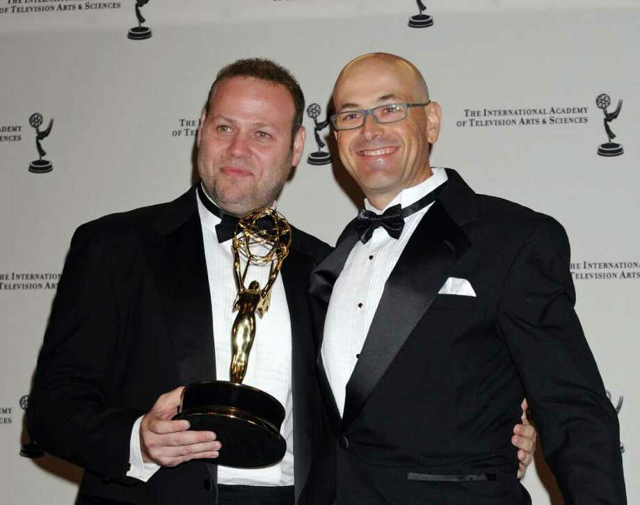 "Recipients for Best Comedy "" Traffic Light"" Adir Miler, left, and Elad Kuperman pose in the press room at the 38th International Emmy Awards, Monday, Nov. 22, 2010, in New York. (AP Photo/Louis Lanzano) Photo: Louis Lanzano"