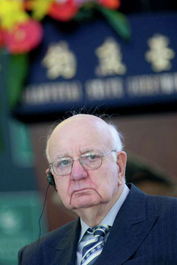 Paul Volcker, chairman of U.S. President Barack Obama's Economic Recovery Advisory Board, attends the International Finance Forum at the Diaoyutai State Guest House in Beijing, China, on Tuesday, Nov. 9, 2010. Volcker is leaning toward the European view of fair value for a bank's loan accounting and away from the stricter interpretation of the Norwalk-based Financial Accounting Standards Board, which sets accounting rules for the United States. Photo: Nelson Ching, Bloomberg / 2010 Bloomberg Finance L.P.