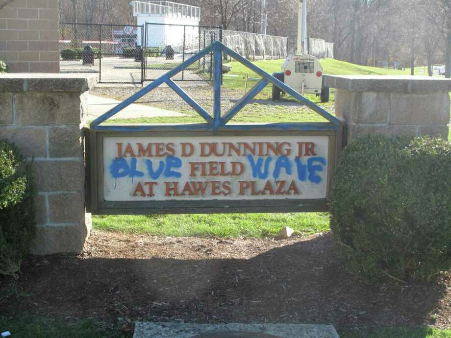 Blue Wave painted on the Dunning field entrance sign Photo: Contributed Photo / New Canaan News