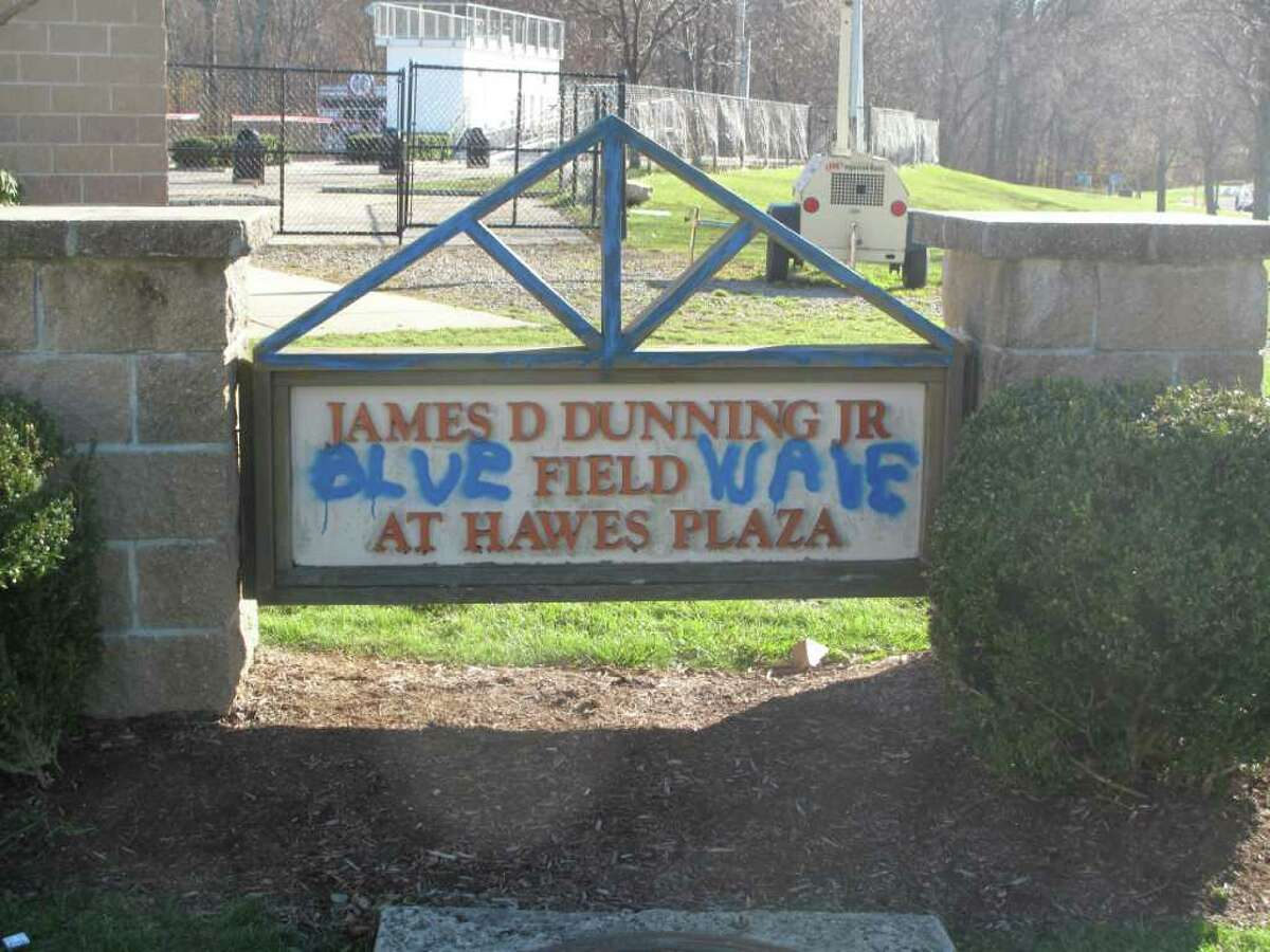 Blue Wave painted on the Dunning field entrance sign
