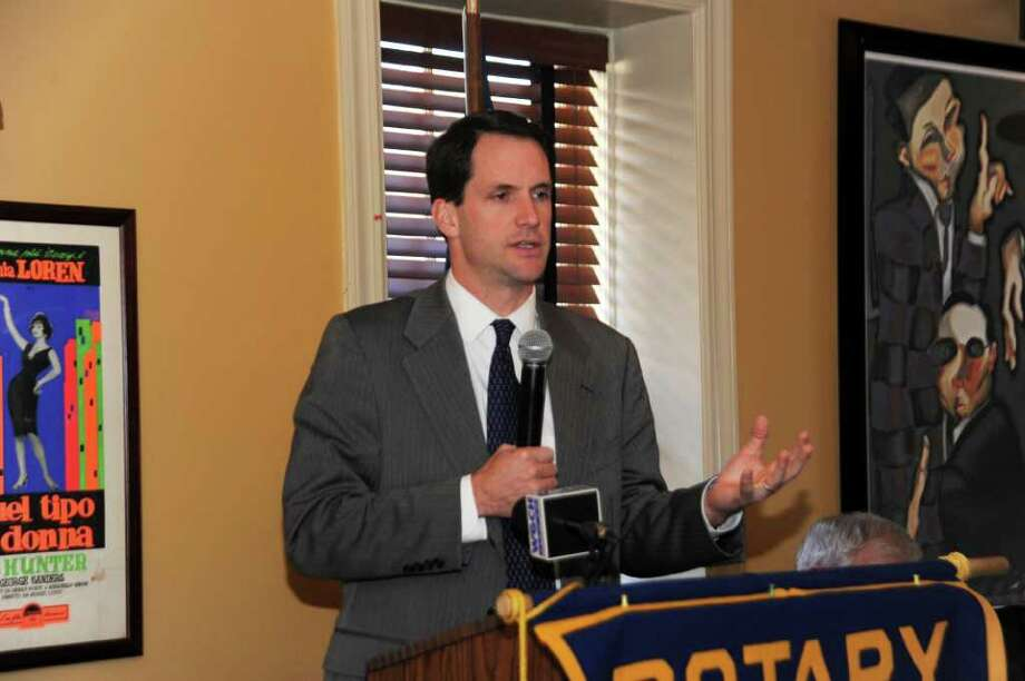 Re-elected U.S. Rep. Jim Himes, D-Conn., speaking to the Greenwich Rotary Club, at polpo restaurant, in Greenwich, on Wednesday, Nov. 24, 2010. Photo: Helen Neafsey / Greenwich Time