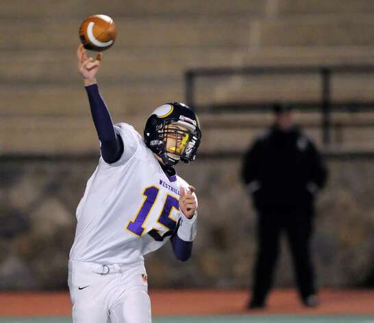 Westhill quarteback Peter Cernansky throws during High School football game, Westhill High School vs. Stamford High School, Boyle Stadium, Stamford High School, Wednesday night, Nov. 24, 2010. Photo: Bob Luckey / Greenwich Time
