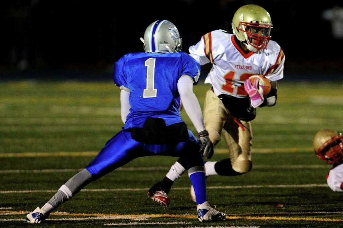 Stratford's Markey Desruisseaux carries the ball during Wednesday's game at Bunnell High School on November 24, 2010.