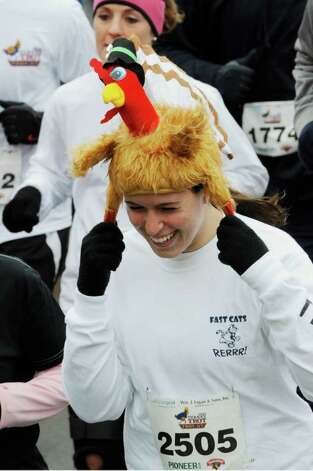 Turkeys were everywhere before the annual Turkey Trot race in Troy November 25, 2010. (SKIP DICKSTEIN / TIMES UNION) Photo: Skip Dickstein