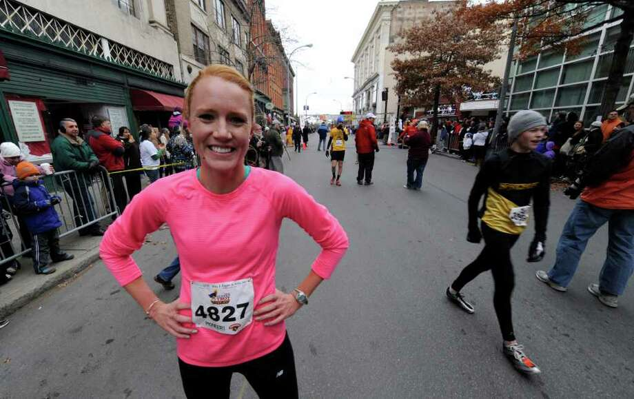 Elizabeth Maloy was the first woman to cross the finish line in the annual 5K Turkey Trot race in Troy November 25, 2010. (SKIP DICKSTEIN / TIMES UNION) Photo: Skip Dickstein
