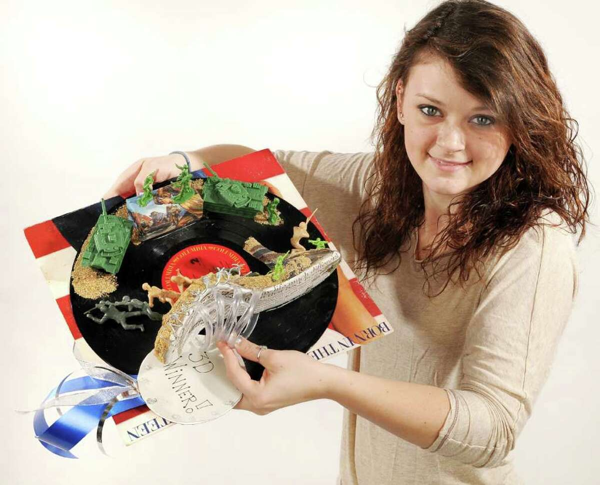 Times Union Studio shot of Mandy Gumprecht,, a 12th Grader, at Cohoes School, and her entry called,