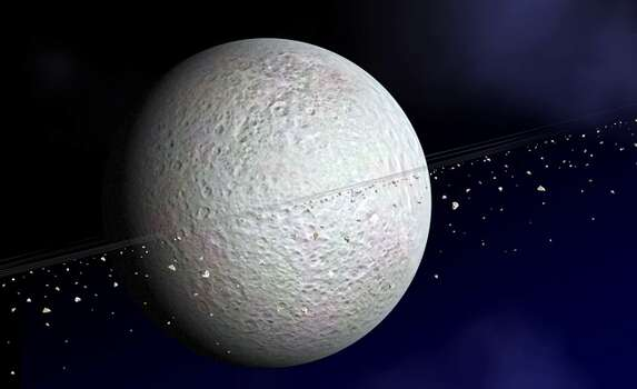 This NASA artist's conception shows Saturn's second-largest moon, Rhea.