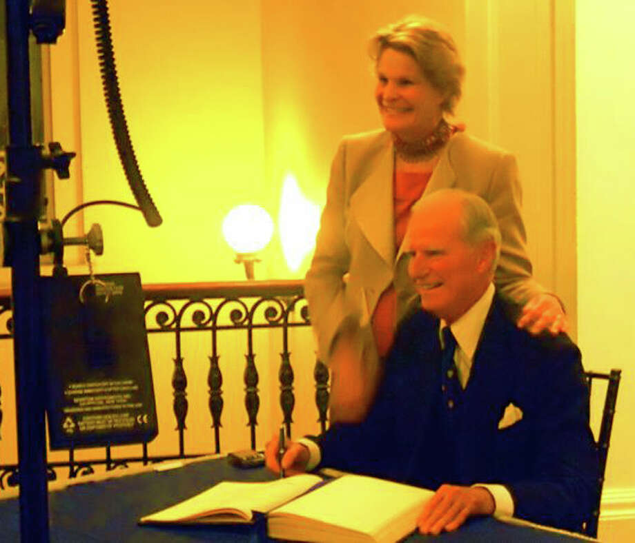 """Joseph Verner Reed, United Nations undersecretary general and former chief of protocol to President George H.W. Bush, received the Yale Medal at a Nov. 12 ceremony in New Haven. He was joined by his wife, Marie """"Mimi"""" Byers Reed. Photo: Contributed Photo / Greenwich Time Contributed"""