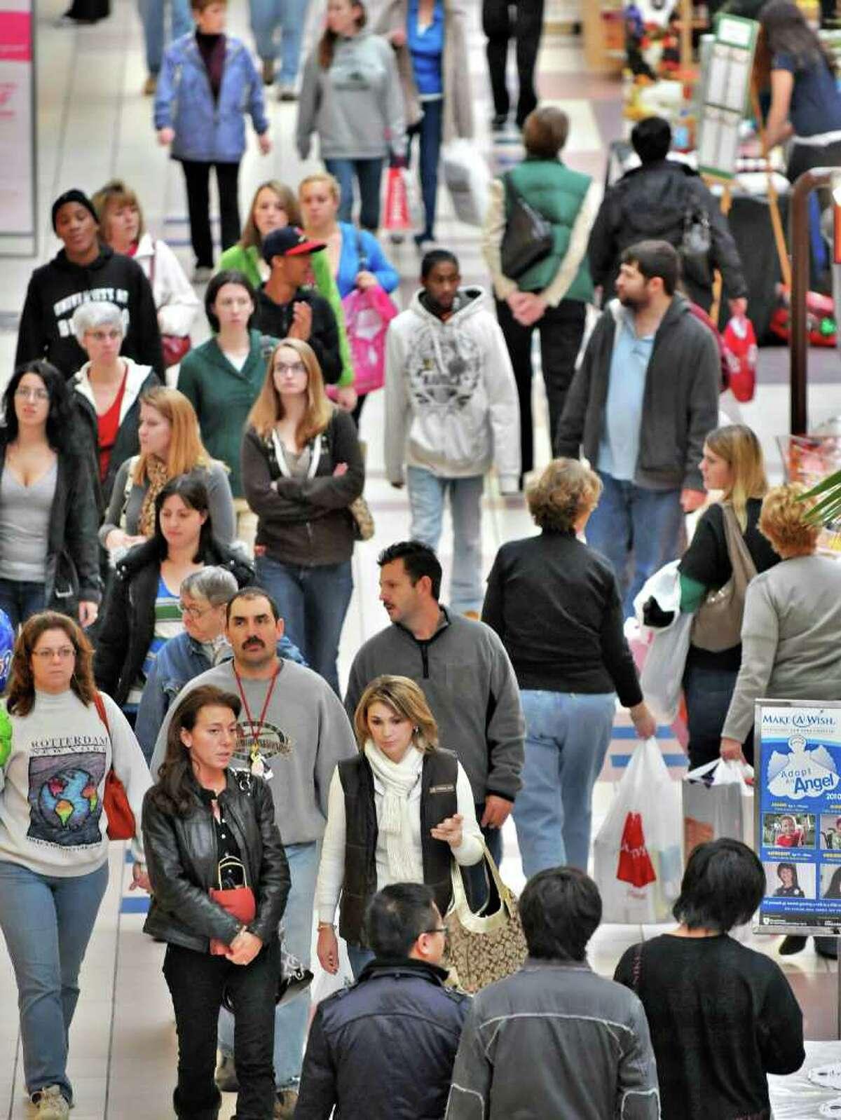 Black Friday shoppers inside Crossgates Mall late Friday morning, Nov. 26.. (John Carl D'Annibale / Times Union)