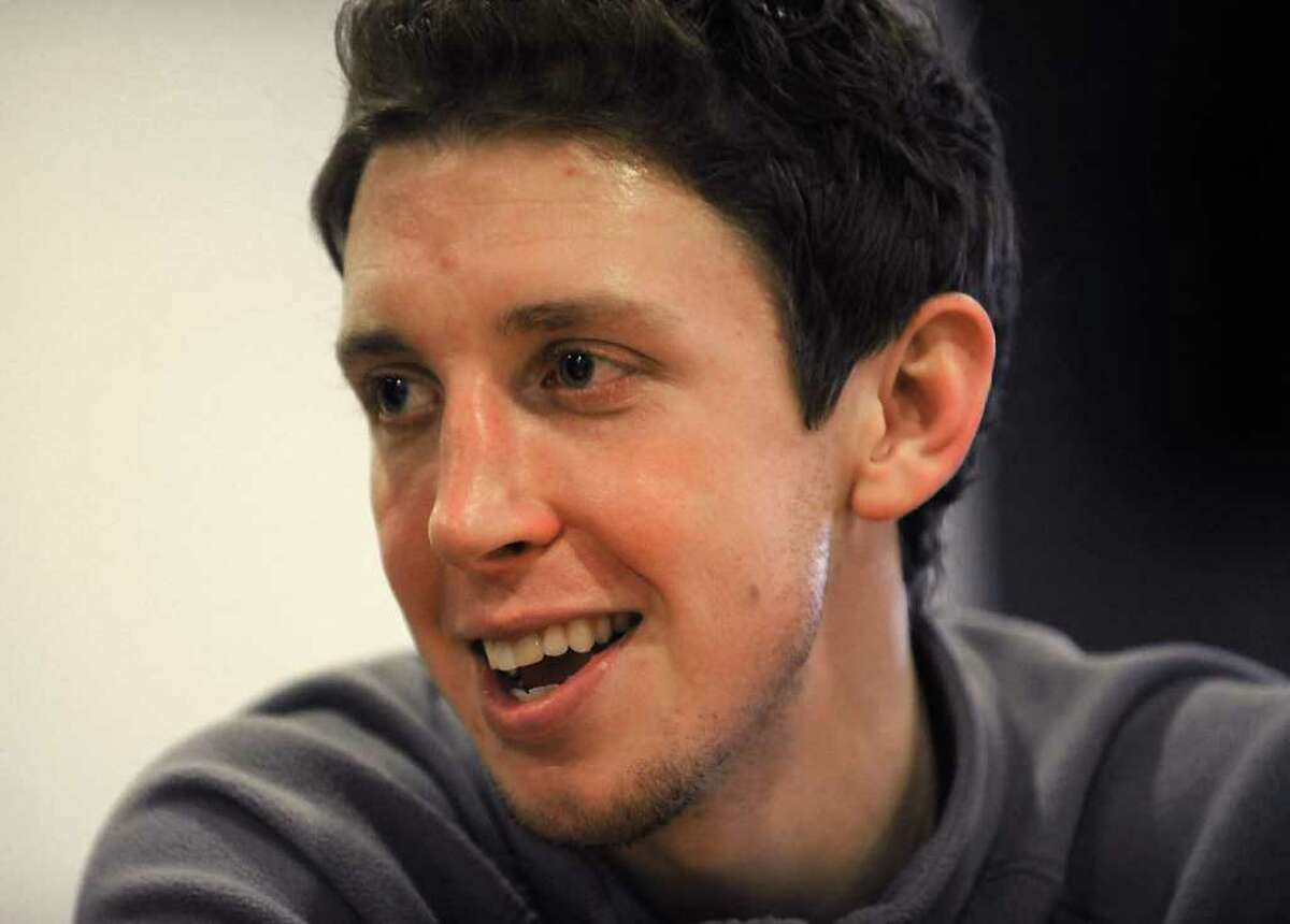 Boston College basketball player John Cahill talks to Times Union reporter Pete Iorizzo at Boston College in Boston, MA on November 17, 2010. John is the son of John Cahill, the Albany lawyer who doubles as a college basketball referee. Lori Van Buren / Times Union)