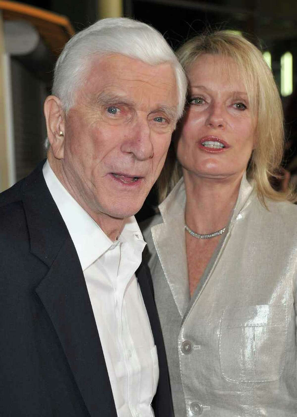LOS ANGELES, CA - OCTOBER 20: Leslie Nielsen (L) and wife Barbaree Earl Nielsen arrive at the Los Angeles premiere of Anchor Bay Entertainment's