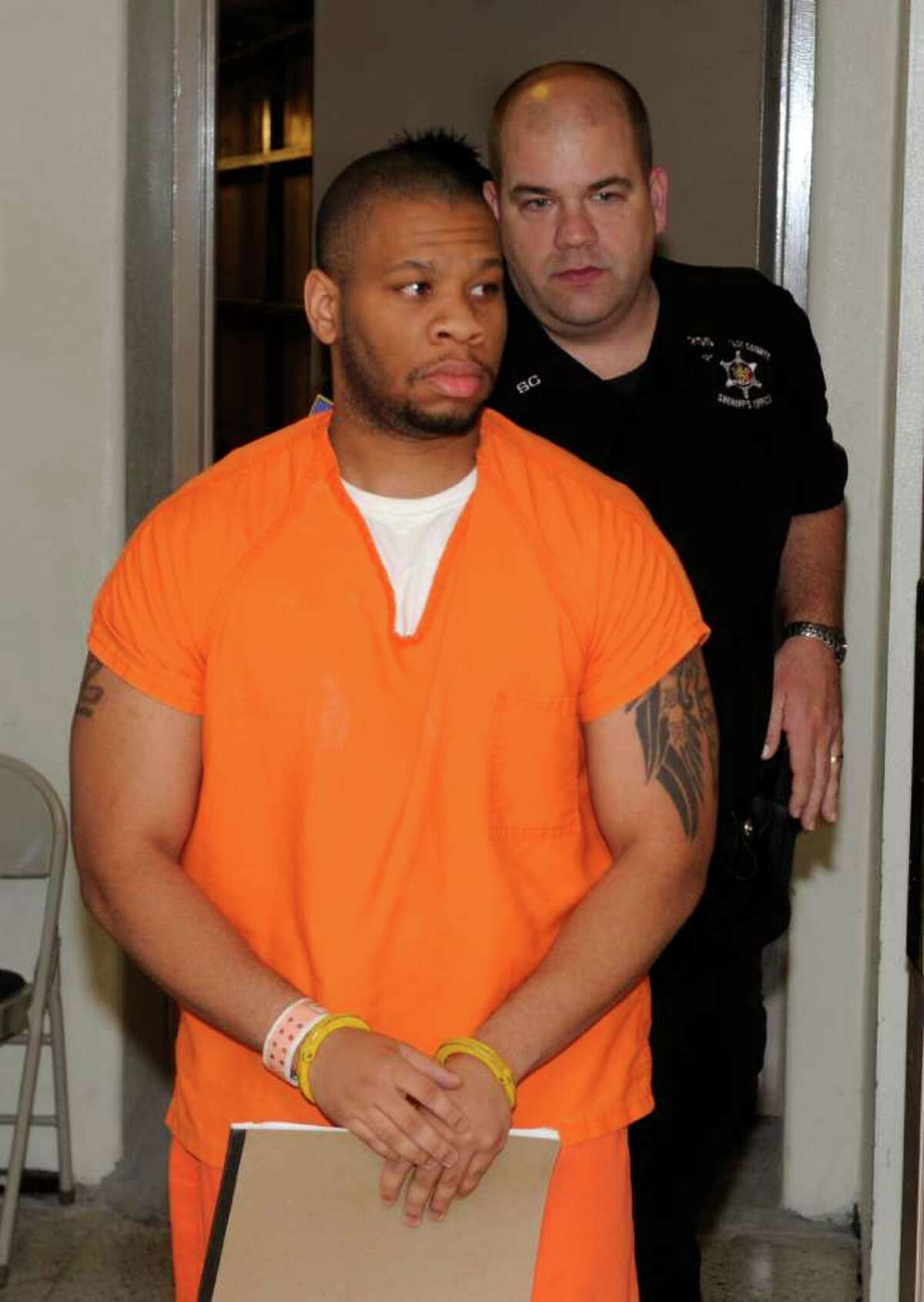 Raymond Van Clief is brought to court at the Schenectady County Courthouse for his sentencing on a manslaughter conviction for killing his ex-wife's boyfriend last year. (Skip Dickstein / Times Union)