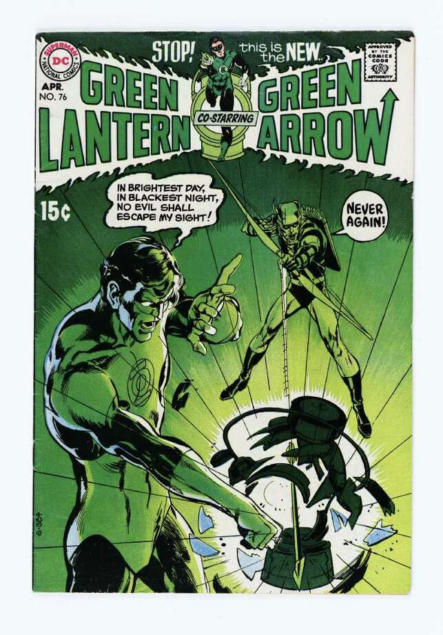 Neal Adams cover art for the April 1970 issue of Green Lantern. In the '70s, the conservative Green Lantern often butted heads with the liberal Green Arrow.