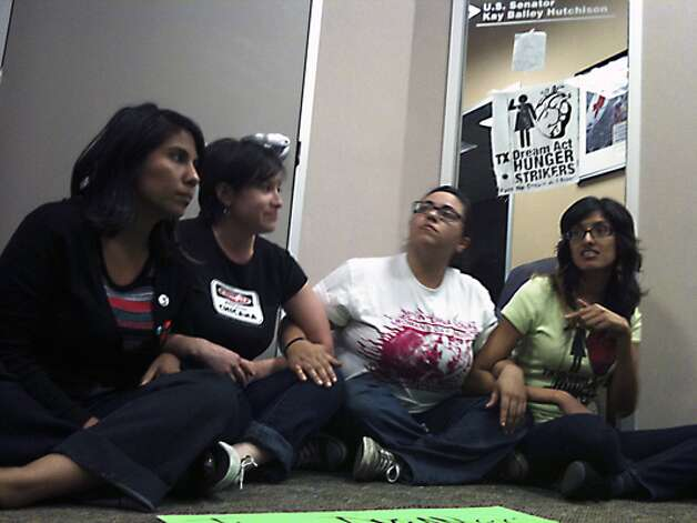 A group of hunger strikers from the University of Texas at San Antonio staged a rally Monday at the San Antonio office of U.S. Sen. Kay Bailey Hutchison.