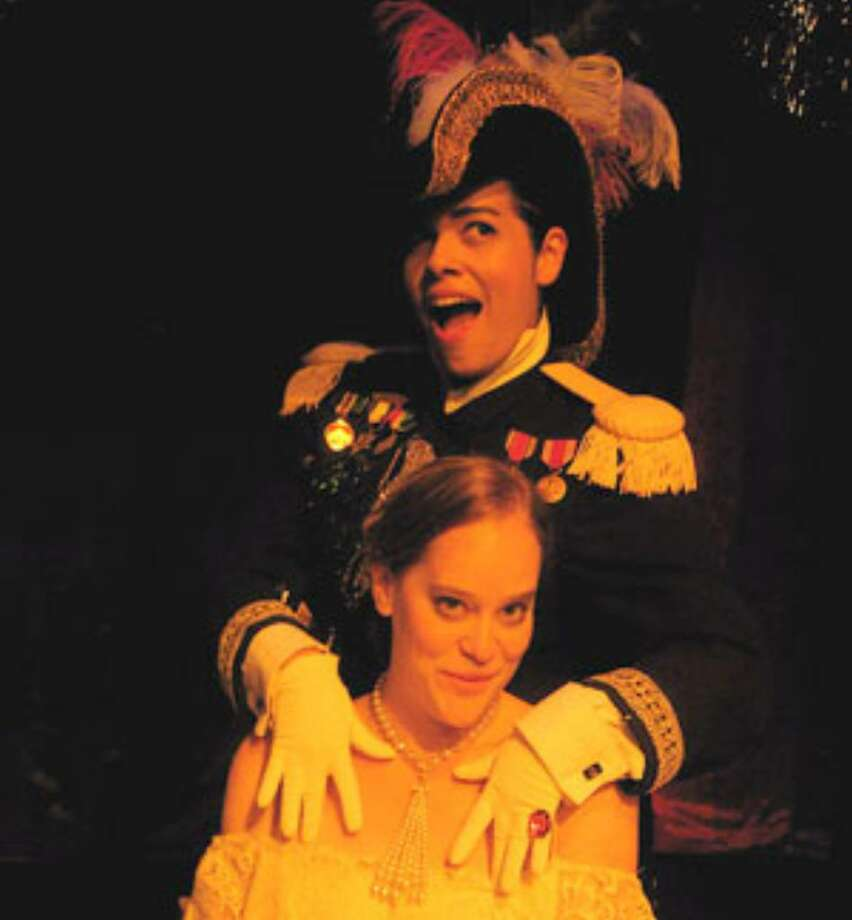 The lusty Gen. Santa Anna (Monessa Esquivel) attempts to seduce Emily Morgan (Julie Vaquera) in Jump-Start Performance Co.'s entertaining 'High Yello Rose.'