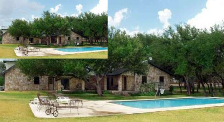 The two-story, 21-year-old home on 1.6 acres in the Acres North subdivision north of Boerne is equipped with a sports pool.
