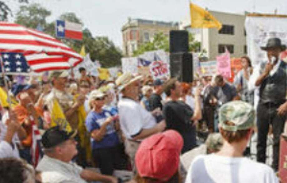 The Tea Party Express held a rally attended by hundreds last week at Alamo Plaza. They said they are against big deficit spending, irresponsible bail-outs and government-run health care.