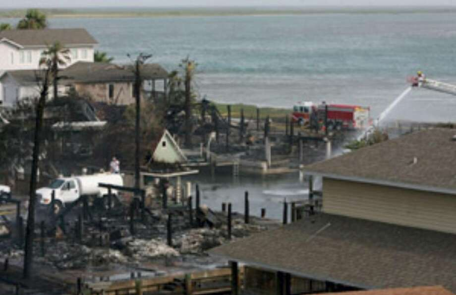 Nothing was left of six homes on Channel View Drive in Port Aransas after the fire Friday.