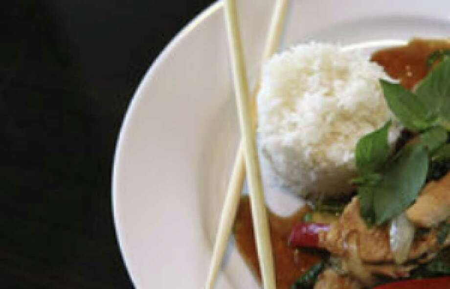 Beef with basil and rice makes an attractive presentation at V's Thai Cuisine. The new family-run restaurant offers flavorful dishes.