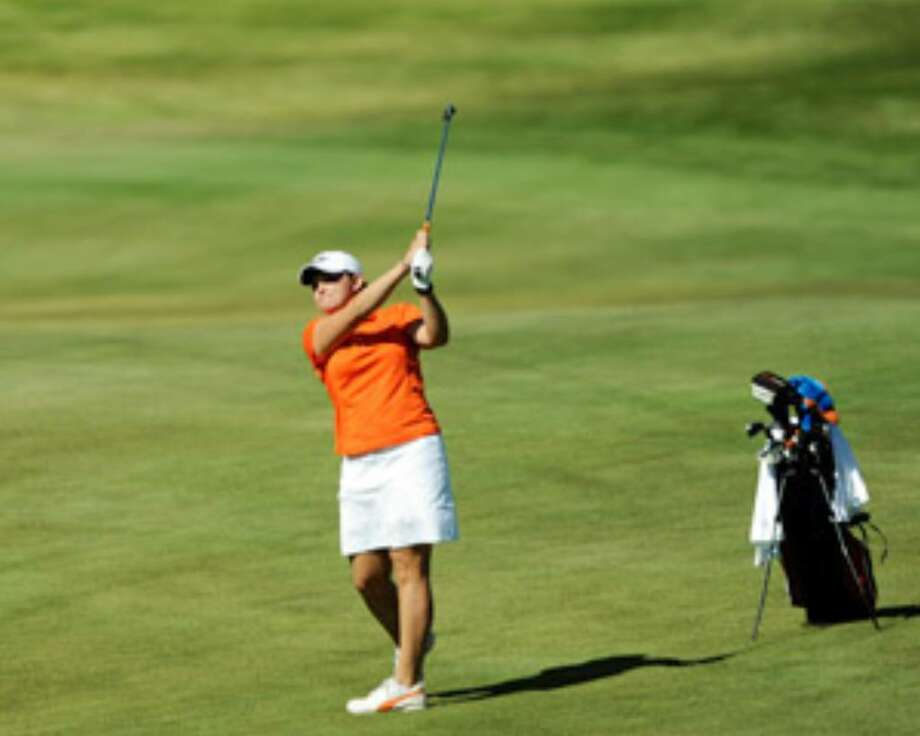 UTSA's Madison McClain hits from a fairway during the Alamo Invitational at Briggs Ranch. The host Roadrunners finished tied for seventh. The event was cut to just one round after Monday's rains washed out the first two rounds of the tournament.