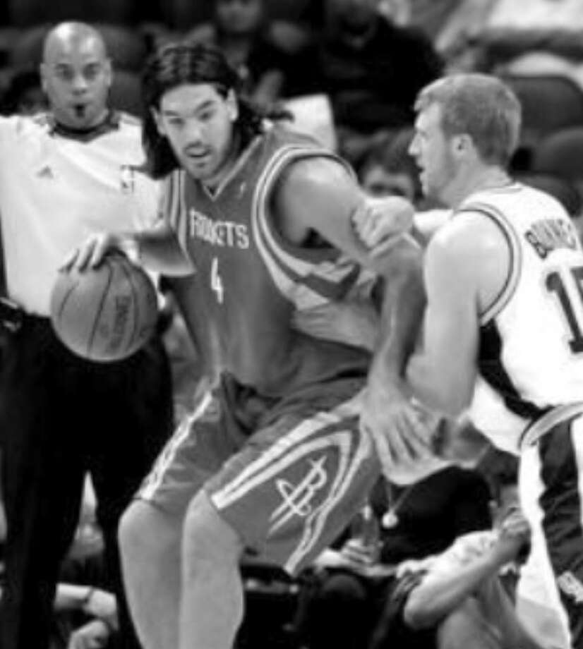 The Rockets' Luis Scola (left) is defended by the Spurs' Matt Bonner in the first half of Tuesday's preseason opener at the AT&T Center. Bonner scored 14 points.