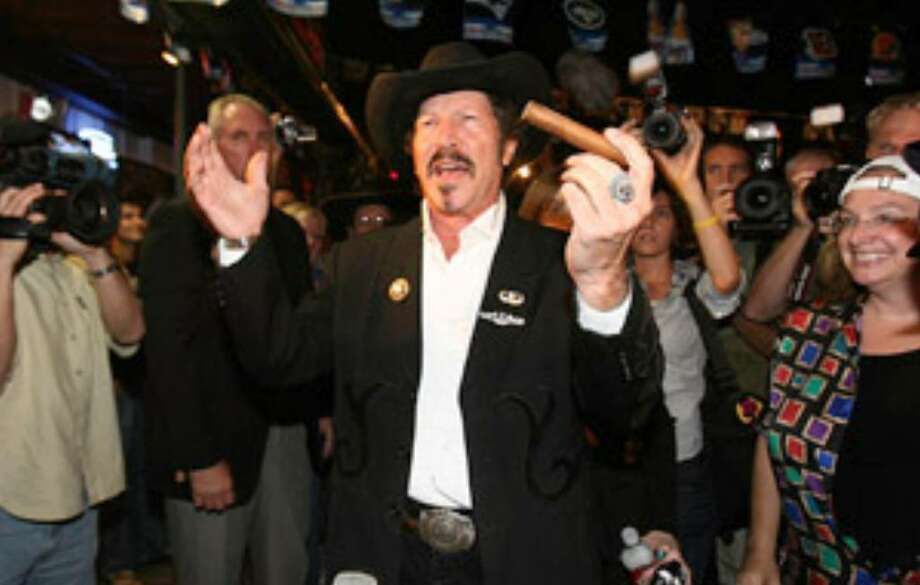 Kinky Friedman, running for governor as a Democrat, visited San Antonio on Thursday as part of a whirlwind state tour.
