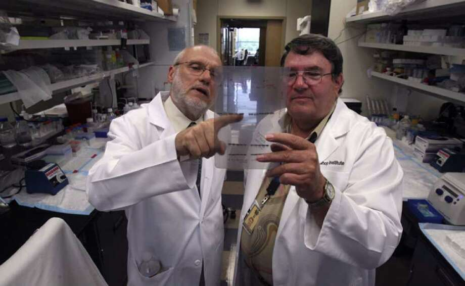 Zelton Dave Sharp (left), professor and chairman of the Department of Molecular Medicine at the UT Health Science Center, and Arlan Richardson, director of the Barshop Institute for Longevity and Aging Studies, are involved in a stimulus-funded research project.