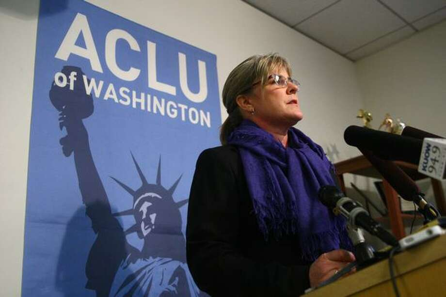 U.S. Air Force Maj. Margaret Witt, a flight nurse dismissed from the military after it was discovered that she was a lesbian, speaks during a press conference at the ACLU offices in Seattle. Photo: Joshua Trujillo/seattlepi.com