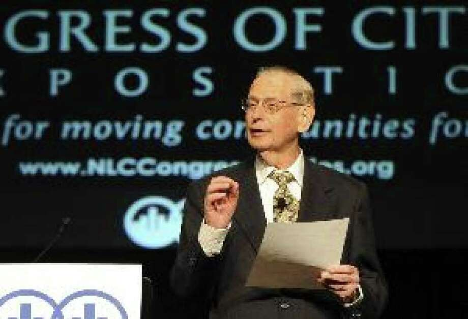 William Freund, chief economist emeritus of the New York Stock Exchange, speaks at the National League of Cities' Congress of Cities & Exposition at the Convention Center.