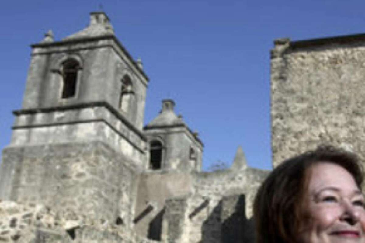 Architect Carolyn Peterson is being recognized by her peers in part for her preservation work, including current restoration efforts at Mission Concepción, where she is shown here.