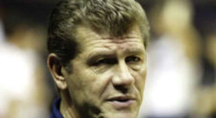 Connecticut women's coach Geno Auriemma will lead his top-ranked Huskies into a meeting with No. 10 Texas tonight at the AT&T Center.