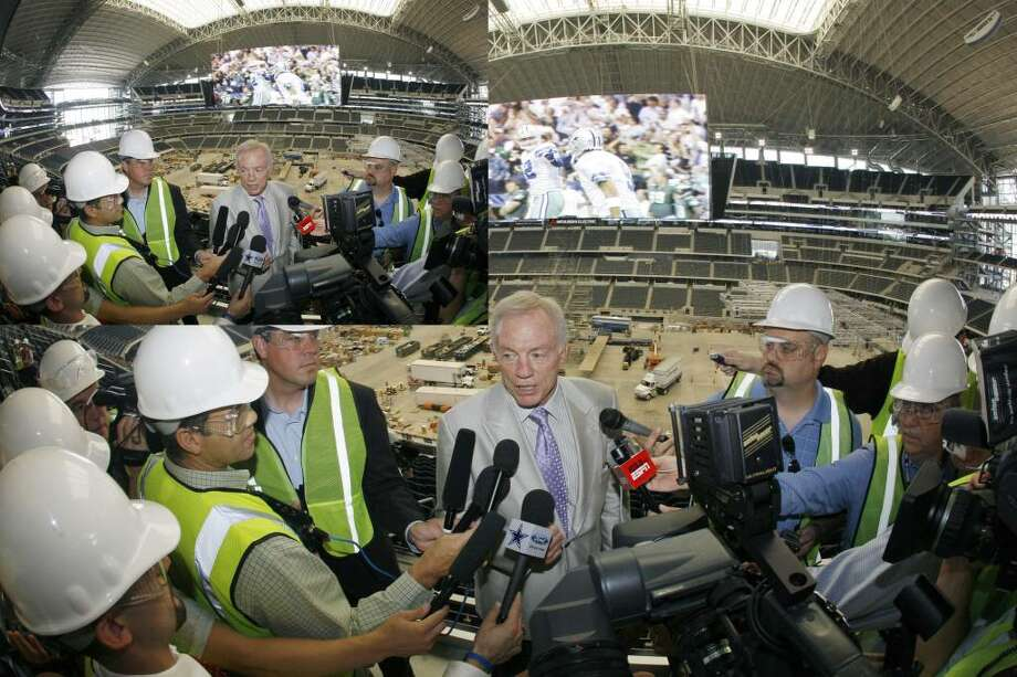 Cowboys owner Jerry Jones answers questions after a news conference to unveil the team's video board in May.