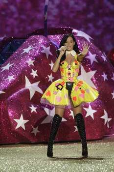 Katy Perry performs during the Victoria's Secret Fashion Show in New York, Nov. 10, 2010.