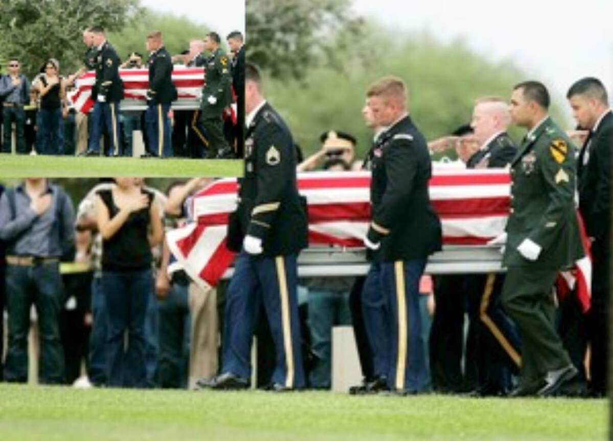 An Honor Guard carries the coffin of Staff Sgt. Bradley Espinoza during the funeral Thursday afternoon at the Rio Grande Valley State Veterans Cemetery in Mission.