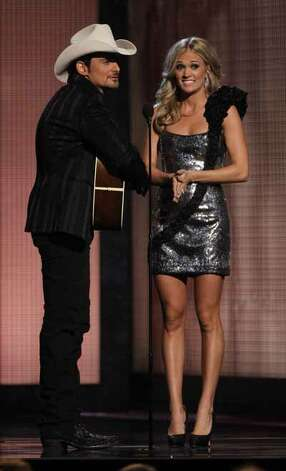 Carrie Underwood and Brad Paisley host the 44th Annual Country Music Awards in Nashville, Tenn. , Nov. 10, 2010.