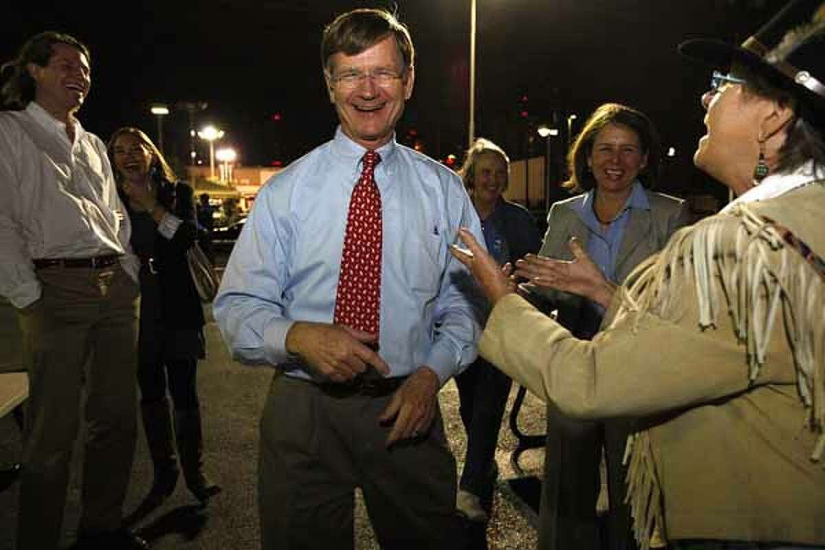 U.S. Rep. Lamar Smith, 21st congressional district, dances with Bobbie Goff upon arriving at the Bexar County Republican headquarters, Nov. 2, 2010. Smith had a commanding re-election victory over Democrat Lainey Melnick and Libertarian James Arthur Strohm.