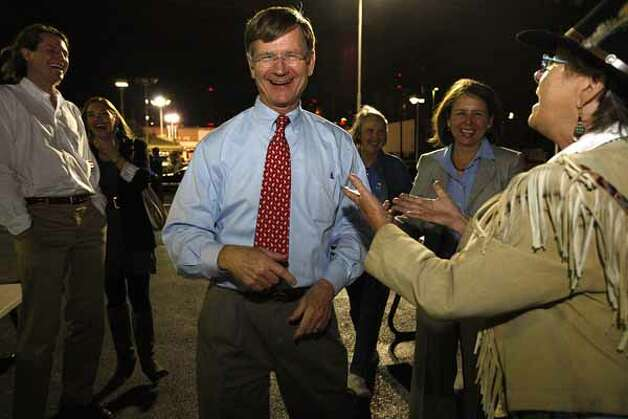 U.S. Rep. Lamar Smith, 21st congressional district, dances with Bobbie Goff upon arriving at the Bexar County Republican headquarters, Nov. 2, 2010. Smith had a commanding re-election victory over Democrat Lainey Melnick and Libertarian James Arthur Strohm. / glara@express-news.net
