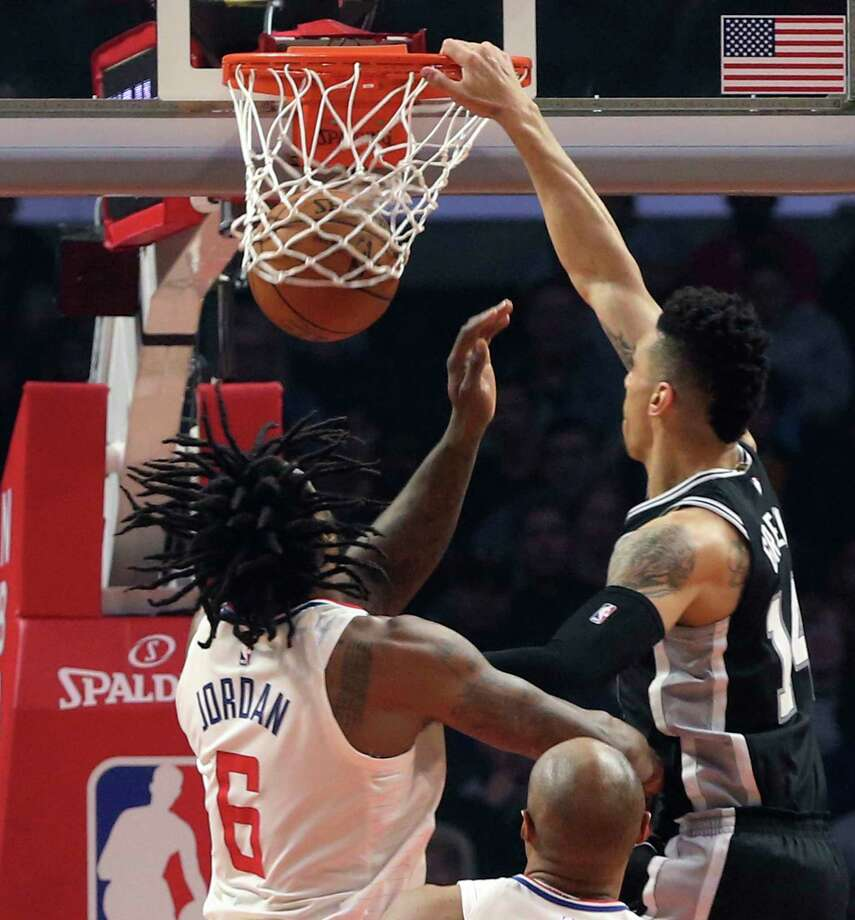 San Antonio Spurs forward Kawhi Leonard dunks during the first half of the team's NBA basketball game against the Los Angeles Clippers, Friday, Feb. 24, 2017, in Los Angeles. (AP Photo/Mark J. Terrill) Photo: Mark J. Terrill, Associated Press / Copyright 2017 The Associated Press. All rights reserved.