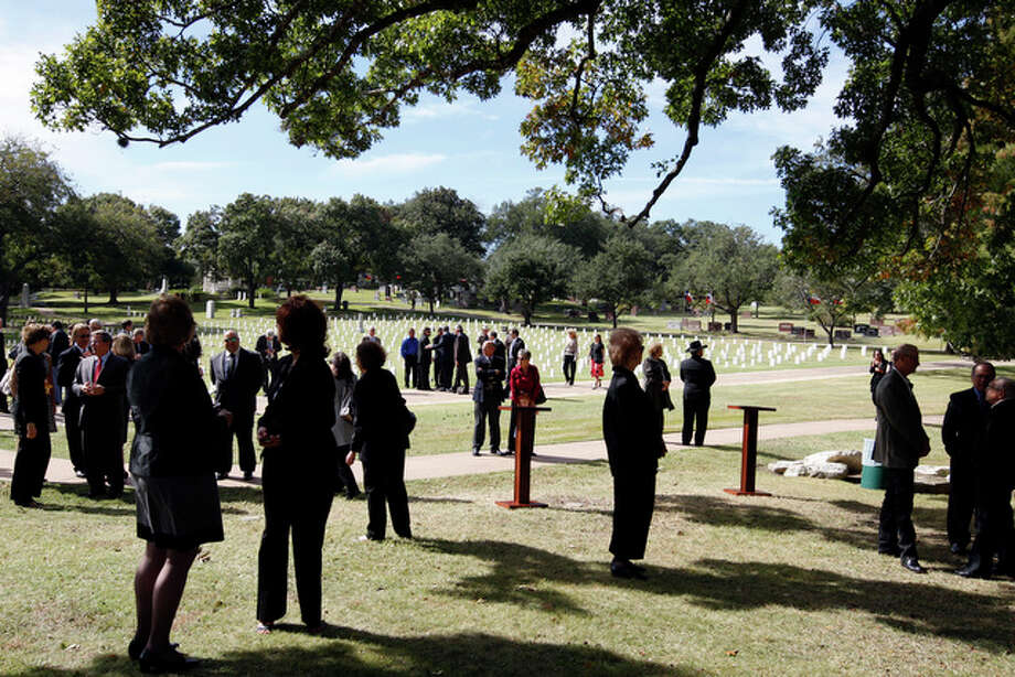 Supporters wait for the arrival of Texas State Rep. Edmund Kuempel, R-Seguin, funeral procession at the Texas State Cemetery in Austin, Tuesday, Nov. 9 , 2010. Kuempel died on Nov. 4 of a heart attack in Austin. He served in the house since 1983. / glara@express-news.net