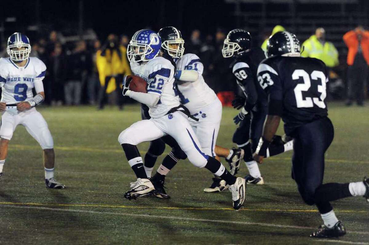 Darien's Graham Maybell in action as Darien High School faces Wethersfield in the football Class L State Quarterfinals in Wethersfield, Conn., Tuesday, November 30, 2010.