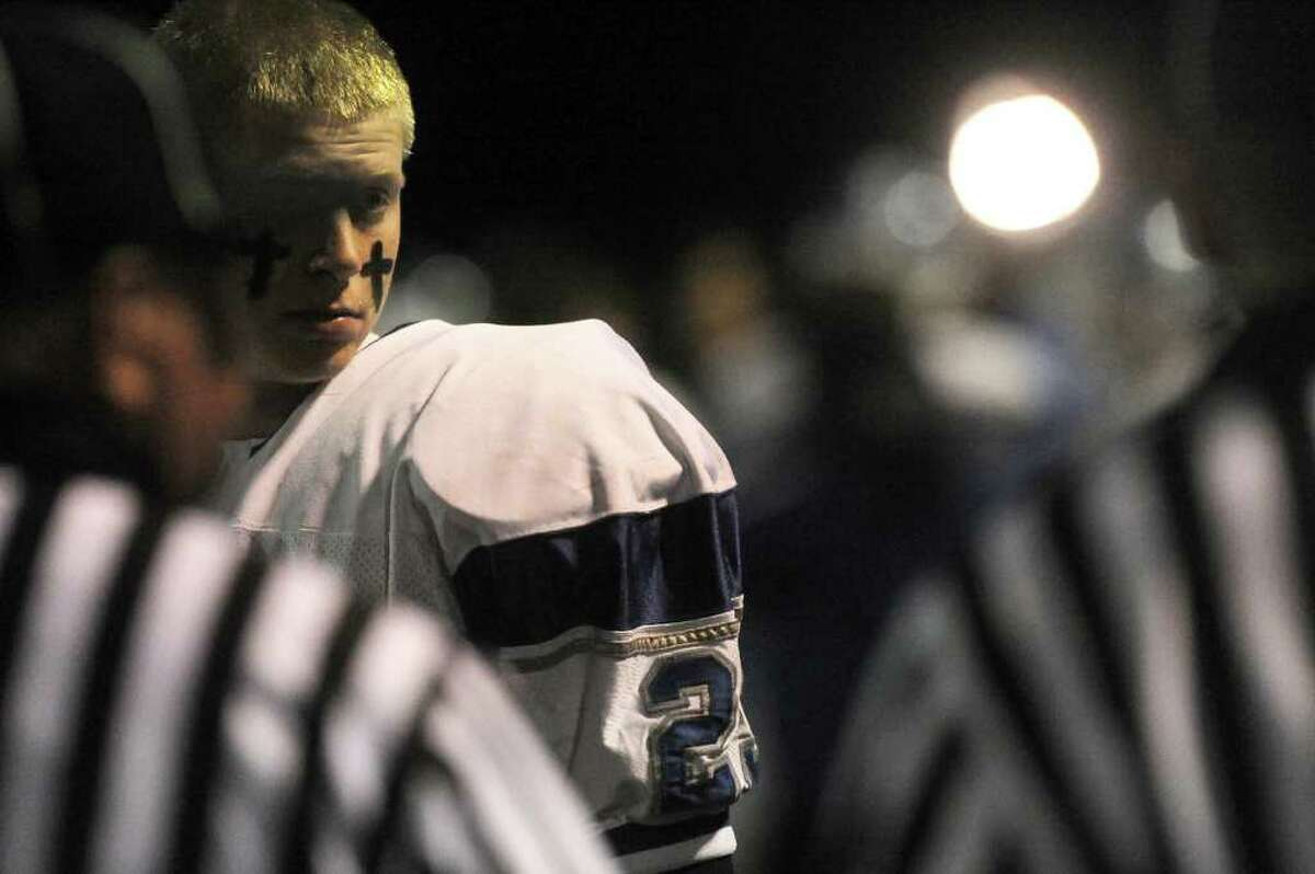 Darien's Tucker Morehouse on the sidelines as Darien High School faces Wethersfield in the football Class L State Quarterfinals in Wethersfield, Conn., Tuesday, November 30, 2010.