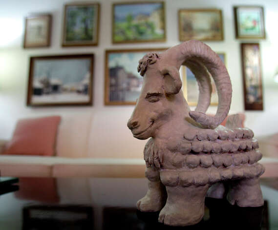 Goeth also made this whimsical goat sculpture, which sits on her coffee table. / SAN ANTONIO EXPRESS-NEWS