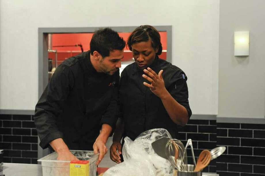 """Beaumont's Tiffany Derry, right, is a contestant on """"Top Chef All Stars"""" which airs tonight on Bravo. She is pictured here with Angelo Sosa. Photo provided by Bravo. Photo: David Giesbrecht / Beaumont"""