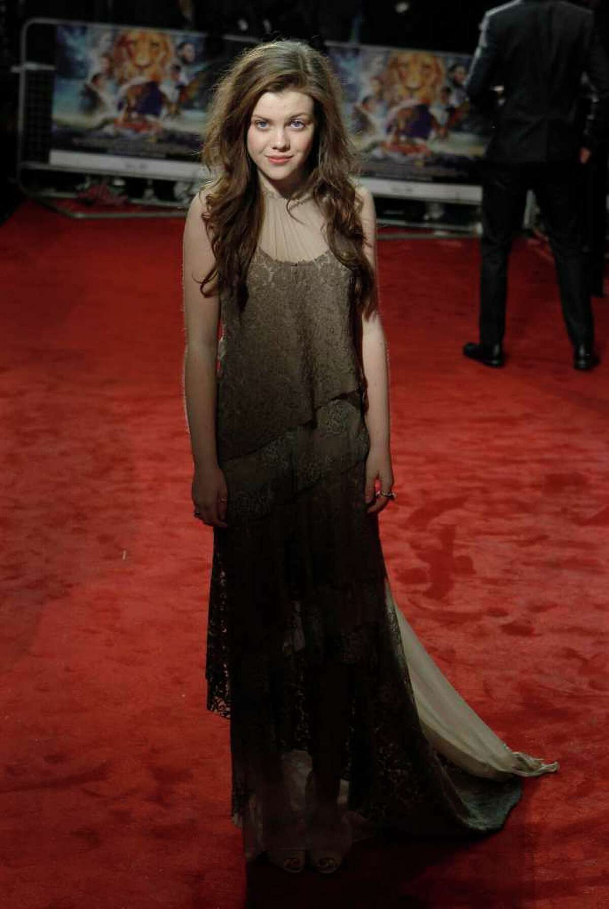 British actress Georgie Henley arrives for the World premiere of' The Chronicles of Narnia: Voyage of the Dawn Treader', at a cinema in Leicester Square, London, Tuesday, Nov. 30, 2010. (AP Photo/Joel Ryan)