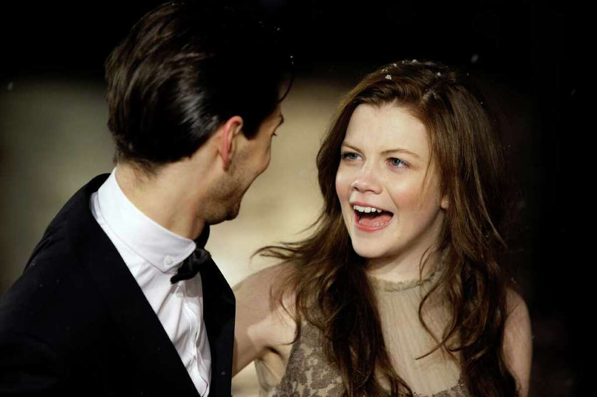 British actors Ben Barnes and Georgie Henley arrive for the World premiere of 'The Chronicles of Narnia: Voyage of the Dawn Treader', at a cinema in Leicester Square, London, Tuesday, Nov. 30, 2010. (AP Photo/Joel Ryan)