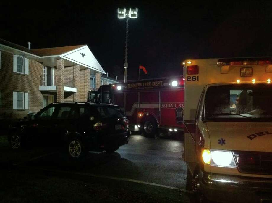 The discovery of suspicious chemicals brought emergency personnel to a Bethlehem apartment complex. (Will Waldron / Times Union)