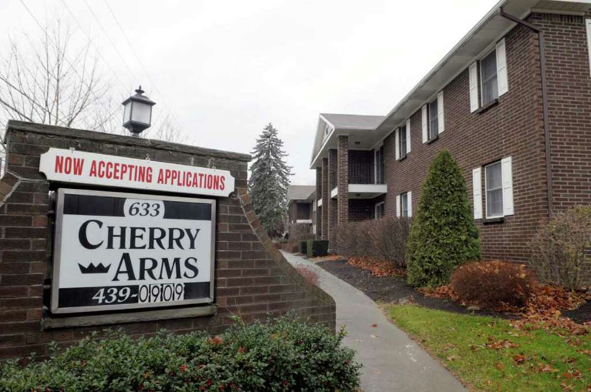 Police say suspicious looking chemicals were removed Tuesday from a basement storage area in Cherry Arms Apartments in Delmar. The discovery prompted the evacuation of the apartment complex for more than seven hours. (Paul Buckowski / Times Union)